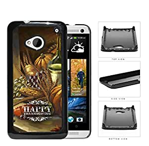 Happy Thanksgiving Watercolor Food Painting HTC one M7 Hard Snap on Plastic Cell Phone Case Cover
