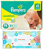 Pampers Swaddlers Disposable Diapers Size Newborn (Less Than 10lbs) (31ct) Bundle with Honest Baby Wipes (10ct)