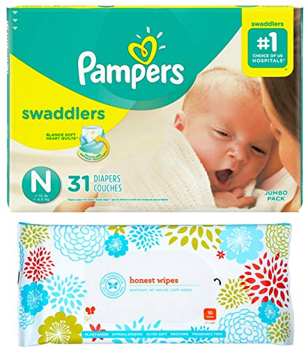 (Pampers Swaddlers Disposable Diapers Size Newborn (Less Than 10lbs) (31ct) Bundle with Honest Baby Wipes (10ct))