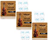 3 Packs Full Set Replacement Stainless Steel 4/4 Size Violin Strings E A