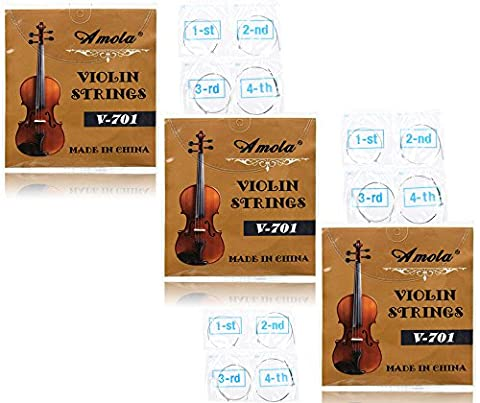 3 Packs Full Set Replacement Stainless Steel 4/4 Size Violin Strings E A D G (Violin Strings For 3 4)