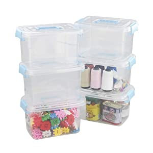 Kekow 6-Plastic 5 L Clear Plastic Storage Bins with Lids, Latch Storage Containers