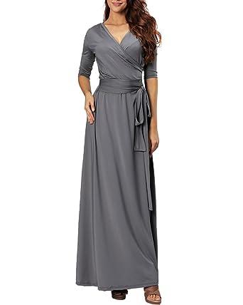 Aofur Womens V Neck Half Sleeve Maxi Long Party Evening Cocktail Dress Plus Size 8-20: Amazon.co.uk: Clothing