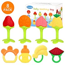 Dratrip Baby Teething Toys, Best Fruit teether - Highly Recommended by Moms,Soft & Textured - Natural Organic Freezer, BPA & Phthalates Free, FDA Compliant, for Boy and Girl(8 Pack)