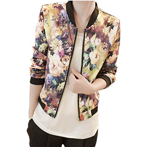 Orangesky Women Stand Collar Long Sleeve Zipper Floral Printed Bomber Jacket