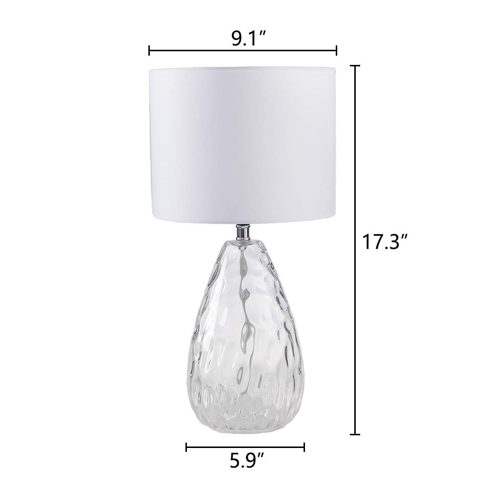 Wtape Modern Clear Glass Base Bedside Table Lamp White for Bedroom, Living Room, Kids Room, College Dorm, Coffee Table, Bookcase by Wtape (Image #2)