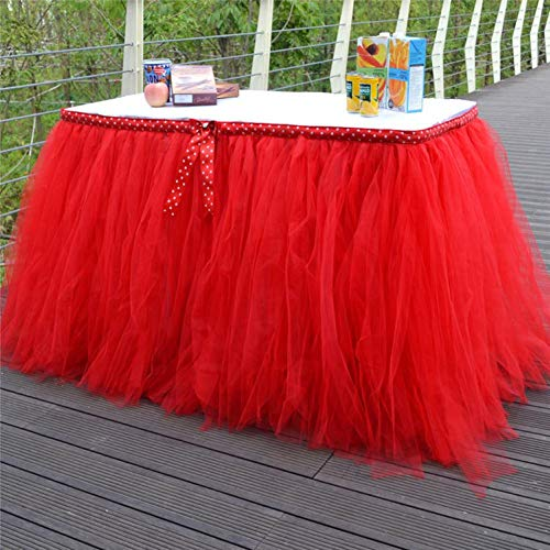 3FT Tulle Table Skirt Fabric for Rectangle or Round Tables Tutu Table Skirting with Polka Dot Bow Fluffy Tableware for Party,Wedding,Birthday Home Decoration,1 Yard(Red,L3(ft) H 31.5in) -