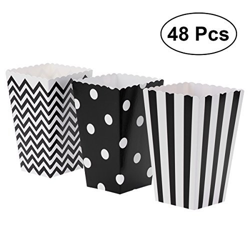 TOYMYTOY Popcorn Boxes,Paper Popcorn Boxes Popcorn Containers for Party Favor,48pcs (Black)]()