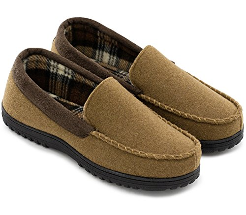HomeTop Men's Indoor Outdoor Wool Micro Suede Moccasin Slippers House Shoes (45 (US Men's 12), Camel)