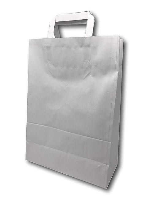 Bolsas de papel Kraft Tamaño Mediano blanco con mango 11 ...