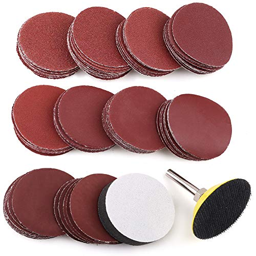 "2 Inch Sanding Discs Pad Kit, 100PCS 60-3000 Grit Sandpaper with 1/4"" Shank Backing Plate and Soft Foam Buffering Pad, for Drill Grinder Rotary Tool, Hook and Loop Sand Paper Assortment Pack"
