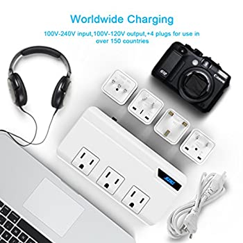 Voltage Converter 220v To 110v With 4 Usb Ports [5v2.1a Each] Thzy International Travel Adapter With 3 Ac Outlets & Ukauuseuitaly Worldwide Plug Adapter–(use For Us Appliances Overseas) 3
