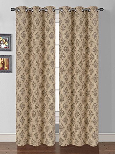 Luxury Printed Curtain Set 2 Piece Grommets Window Panels/drapes (Gold)