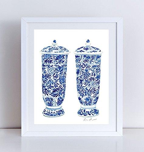 Blue and White China Art Ginger Jar Vases Pair Ginger Jar Art Blue Chinoiserie Art Asian Decor Asian Art Chinese Art Chinese Wall Decor Canvas Art Print (Valentino Vase)