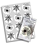 12 Spider Web Halloween rice paper fairy / cup cake 40mm toppers pre cut cake decoration