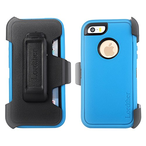 iPhone SE Belt Clip Holster Case, Lordther [ShieldOn Series] [Military Grade Drop Test] [Heavy Duty] Synthetic Rubber Covers with [Bonus Screen Protector] Only for Iphone SE 5SE 5 5s - Blue (Faceplate Cover Case Blue Clip)