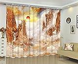 Dbtxwd Curtains drape Blackout 3D Sunrise painting printing Window Drapes , wide 3.6x high 2.7