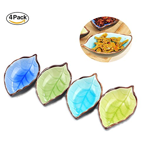 Dohuge Porcelain Serving Saucers Bowl Dipping Sauce Dish for Sushi and Mustard Sauce, 4 Pack (Leaf shaped)