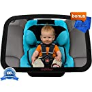 DaffaDoot Baby Car Mirror, Best Back Seat Mirror for Keeping an Eye on Rear Facing Babies, Super-Sized for the Tiniest Tots and the Tallest Toddlers, Superior Clarity, Shatterproof, CRASH-TESTED, Gorgeous Gift Box, Two FREE GIFTS Cleaning Cloth & Newborn Fun Facts eBook,