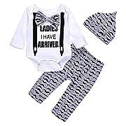 Unmega Newborn Baby Boy Clothes Coming Home Outfits Long Sleeve Bowtie Romper Bodysuit Moustache Pants Set (70/0-3 months) Multicolor 70 / 0-3 months