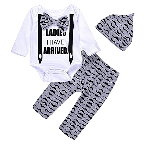 Unmega Newborn Baby Boy Clothes Coming Home Outfits Long Sleeve Bowtie Romper Bodysuit Moustache Pants Set (80/3-6 months) Multicolor 80 / 3-6 months