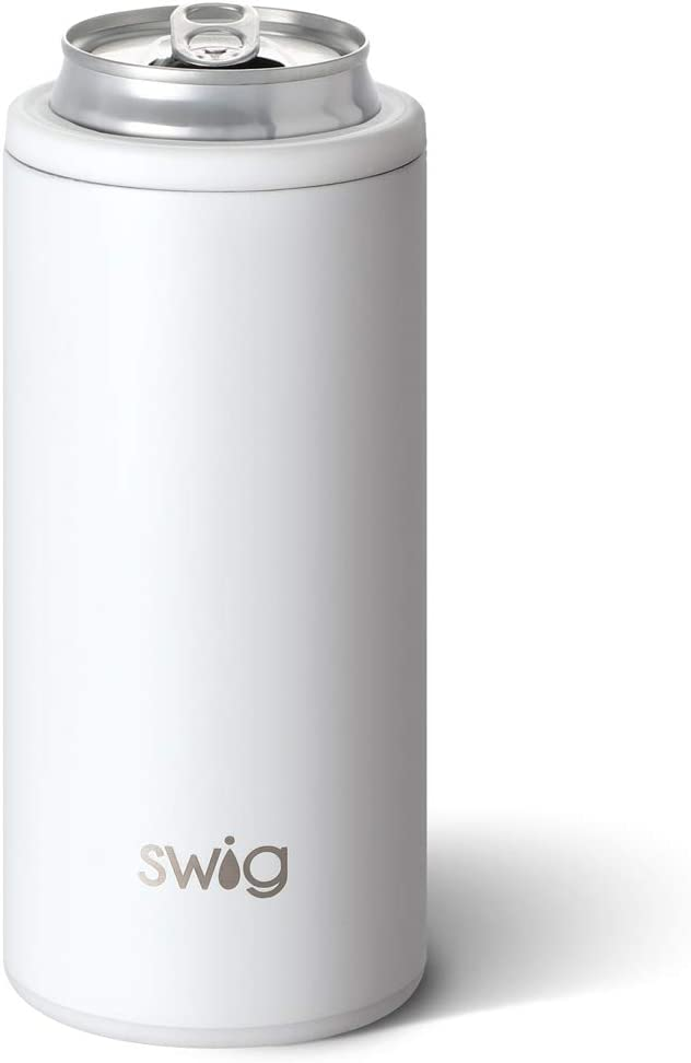 Swig Life 12oz Triple Insulated Skinny Can Cooler, Dishwasher Safe, Double Walled, Stainless Steel Slim Can Coozie for Tall Skinny Cans in Matte White Pattern (Multiple Patterns Available)