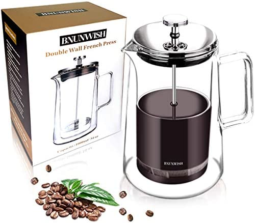 Upgraded French Press Coffee Maker, 1 Liter, 34 Ounce, 304 Stainless Steel French Press, Heat Resistant Borosilicate Glass with 4 Level Filtration System