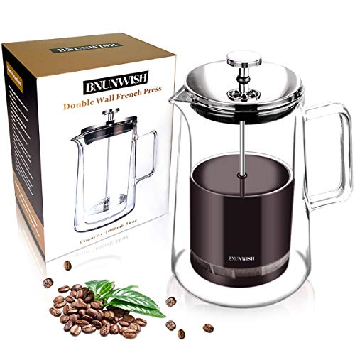 French Press Coffee Maker, Double Wall Vacuum Insulated Thermal Borosilicate Glass, 4 Level Filtration System with No Grounds, 34 Oz, - Coffee French Press Insulated