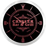 ncu09759-r CRYSLER Family Name Bar & Grill Cold Beer Neon Sign LED Wall Clock