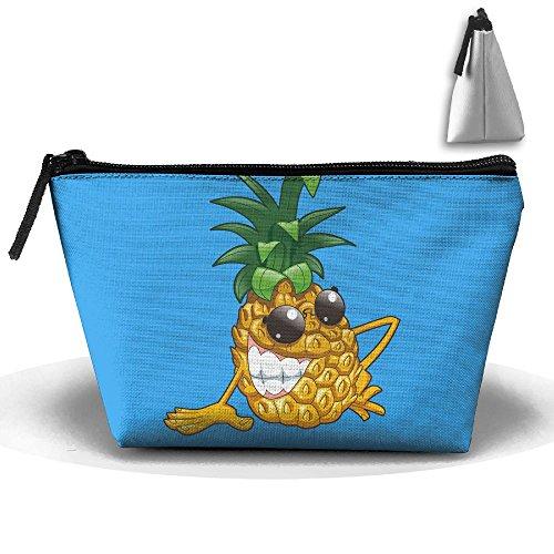 Trapezoidal Bag Makeup Bag Cool Evil Pineapple Storage Portable Travel Wash Tote Zipper Wallet Handbag Carry Case ()