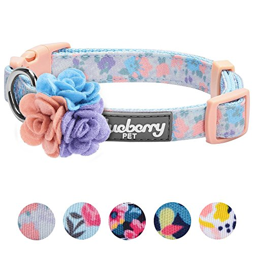 erns Spring Made Well Lovely Floral Print Dog Collar in Lavender with Detachable Flower Accessory, X-Small, Neck 7.5