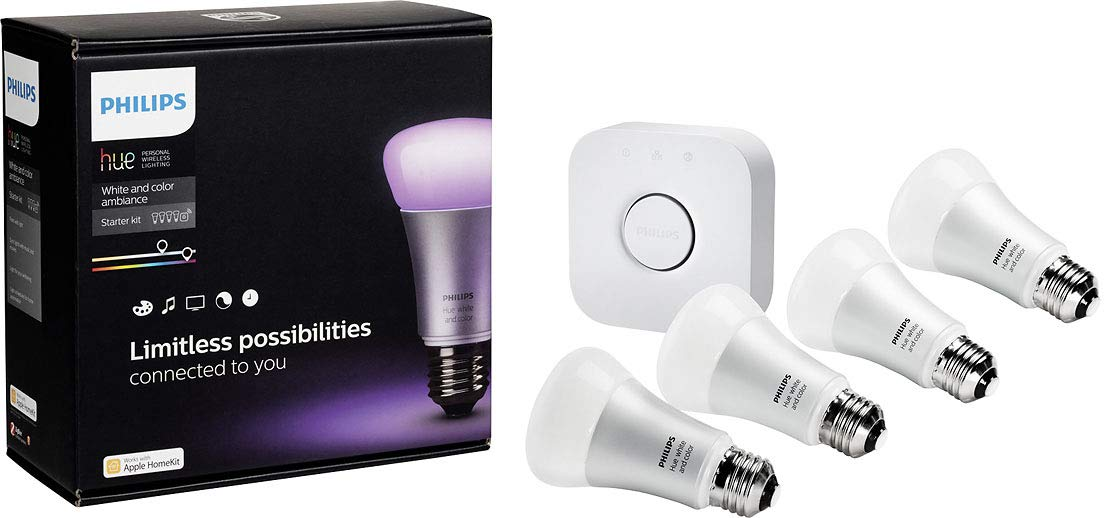 Philips 456194 Hue White and Color Ambiance Starter Kit, 4 A19 Bulbs and 1 Bridge, (2nd Generation), Compatible with Alexa and Apple Homekit (Renewed)