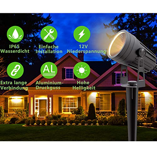 Aogled Luces LED para jardín 3W COB IP65 para exteriores Lámpara de paisaje impermeable 12V bajo voltaje Blanco cálido 3000K Iluminación decorativa para sendero de jardín (paquete de 4)