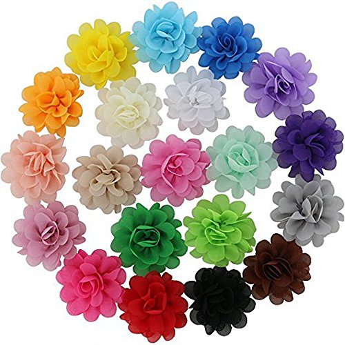 Boutique Ribbon Flower Bow Headband - 20 Colors Baby Girl Chiffon Flowers Lined Hair Bows Clips for Teens Girls Babies Toddlers