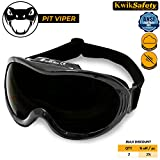 KwikSafety PIT VIPER ANSI Industrial (ANTI-FOG, ANTI-SCRATCH, Snug FIT) Welding Goggles   Shade 5   Ventilation Infrared Welding Torch Brazing Soldering Flame Cutting Gas Oxy-Acetylene Black