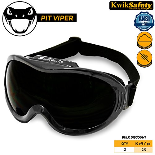 KwikSafety PIT VIPER ANSI Industrial (ANTI-FOG, ANTI-SCRATCH, Snug FIT) Welding Goggles | Shade 5 | Ventilation Infrared Welding Torch Brazing Soldering Flame Cutting Gas Oxy-Acetylene Black