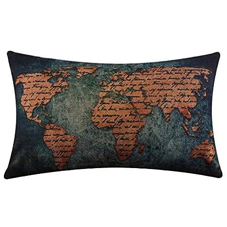 K-youth Fundas de cojínes Rectangulares 30x50 Mapa del Mundo ...