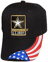 U.S Army Logo Hat With American Flag On Bill- Baseball Cap (One Size)