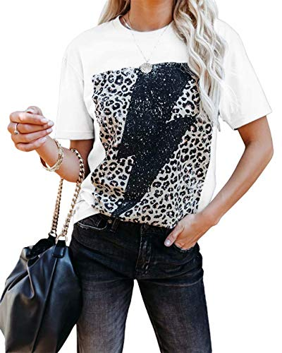 BONITEE Womens Lightning Leopard Print Tops Short Sleeve Graphic Tees Shirt Summer Tunic Blouse