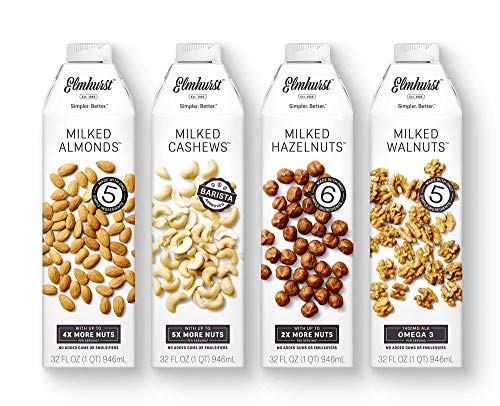 Almond Cashew Milk - 4pk Elmhurst Milked Variety Pack Almond Hazelnut Cashew Walnut - Simpler. Better.