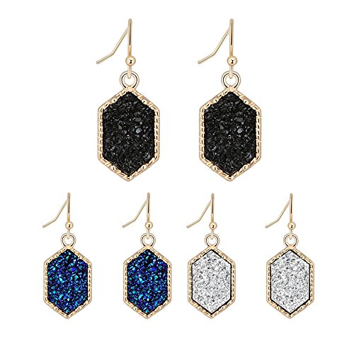 Women's Simulated Druzy Earrings Dangle Drop 14k Gold-Tone Hexagon Charm Black Green Blue Faux Stone Jewelry Gifts for Her, 3 Packs (B3-gold+black/blue/withe) ()