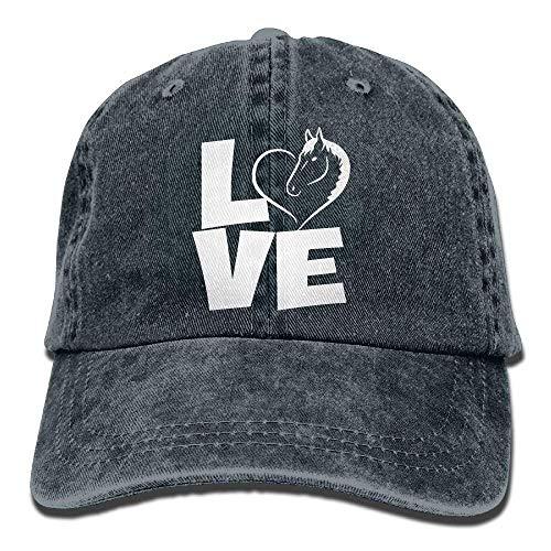 (Unisex Adjustable Yarn-Dyed Denim Baseball Caps I Love Horses Plain Cap)