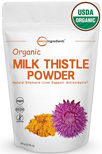 Maximum Strength Pure Organic Milk Thistle Extract Powder 3.5 Oz | Highest Concentration To 80% Silymarin | Detox & Protect Liver Health | Non-Irradiated, Non-Contaminated, Non-GMO and Vegan Friendly.