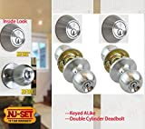 NuSet Fremont(26D) Satin Chrome Door Knob and Double Cylinder Dead Bolt Combo Set of Two
