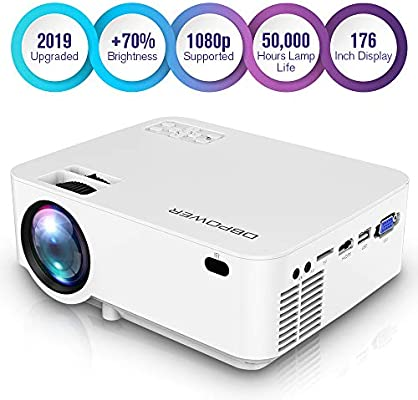 DBPOWER Upgraded Mini Projector, 176 Display 3000L Full HD LED Movie Projector, 50,000 Hours Lamp Life Home Theater Video Projector with HDMI Cable, ...