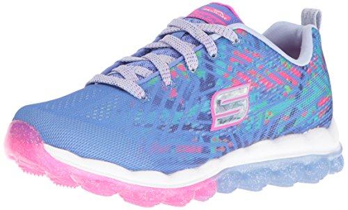 Skech-Air-Jumparound Running Shoe,Blue/Multi Knit, 3 M US Little Kid ()