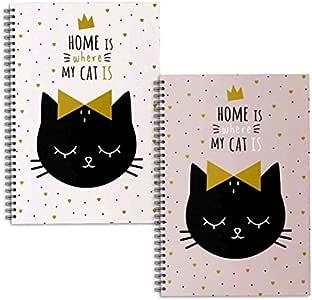 Dcasa - Libretas A4 cat lover - Pack 2 ud.: Amazon.es: Hogar