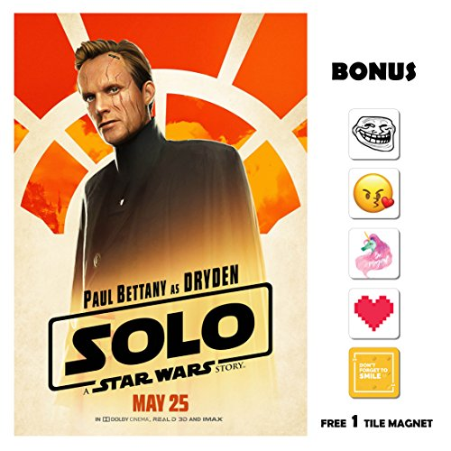 SOLO A Star Wars Story Movie Poster 13 in x 19 in Poster Flyer BORDERLESS - Paul Bettany as Dryden - Bonus Free 1 Tile Magnet