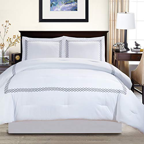 Layla Trellis Embroidered Comforter Set with Pillow Shams, Luxury Hotel Bedding with Soft Microfiber Shell, All Season Down Alternative Fill - Full/Queen, Navy Blue