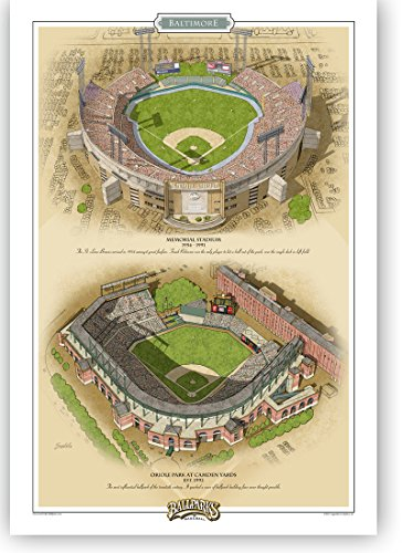 Ballparks of Baseball Baltimore 13x19 Print by Jeff Suntala - Yards Baltimore Orioles Camden